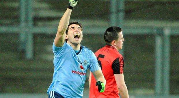 Bernard Brogan punches the air after his late point
