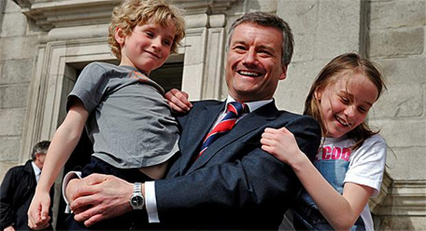 Prof Patrick Prendergast with his son Pierce and daughter Eimear at Trinity College after his election