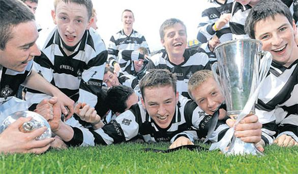 Team captain William Phelan (centre) celebrates with his team-mates after St Kieran's victory in Saturday's All-Ireland Colleges SHC final. Photo: Matt Browne / Sportsfile