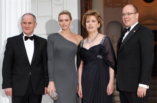 The prince and Charlene Wittstock with President Mary McAleese and her husband Martin before last night's State dinner. Photo: Getty Images