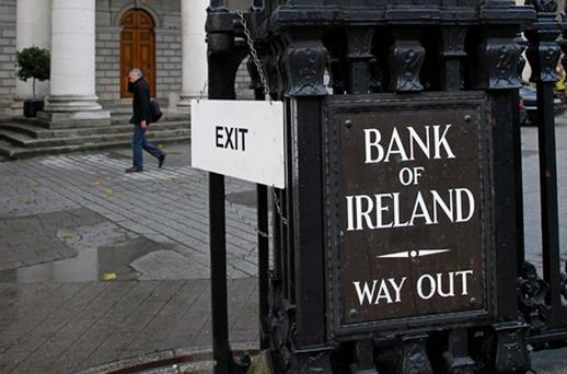 Bank of Ireland jumped more than 9pc yesterday as the markets continued to cheer the stress tests. Photo: Getty Images