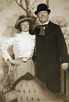 Manchester United manager Alex Ferguson poses for a 19th Century-style photo in the Bunratty Folk Park with his wife Cathy