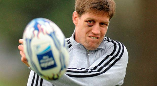 Munster's Ronan O'Gara, still sporting the black eye he picked up on Saturday against Leinster, is pictured during squad training yesterday ahead of their Challenge Cup quarter-final against Brive. Photo: Diarmuid Greene / Sportsfile