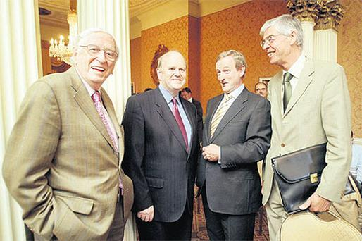 Four of the five living leaders of FG, from left: Garret FitzGerald, Michael Noonan, Enda Kenny, Alan Dukes