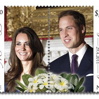 The royal wedding stamps printed in Niue have images of Prince William and Kate Middleton, with perforations that split the couple down the middle (AP)