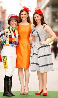 Top jockey Kate Harrington, model Carmel Mannion and Sile Seoige launched the Arnotts Best Dressed Lady competition at Punchestown