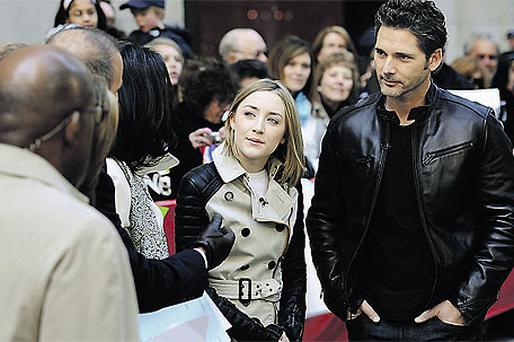 Actress Saoirse Ronan, centre, and co-star Eric Bana in New York yesterday