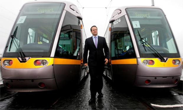 Minister for Transport, Tourism & Sport, Leo Varadkar, pictured at the launch of the first test run of the Citywest Luas line at Cheeverstown Luas Station, Dublin. Photo: Collins