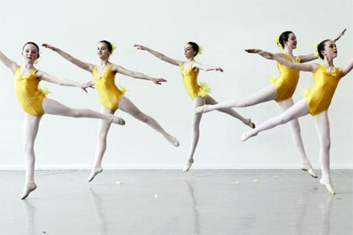 Irish National Youth Ballet Company members rehearse in Dublin yesterday
