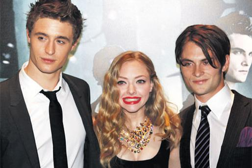 Max Irons, son of Jeremy Irons and Sinead Cusack, left, Amanda Seyfried and Shiloh Fernandez at the European premiere of 'Red Riding Hood' in Leicester Square, London, last night