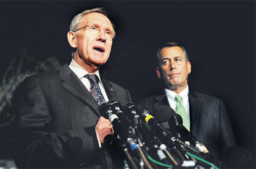 Senate Majority Leader Harry Reid, a Democrat from Nevada, left, and House Speaker John Boehner, a Republican from Ohio, speak to reporters outside of the White House following a meeting with President Barack Obama