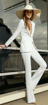 White jacket, €101; white trousers, €65; floppy hat, €21, all from Warehouse