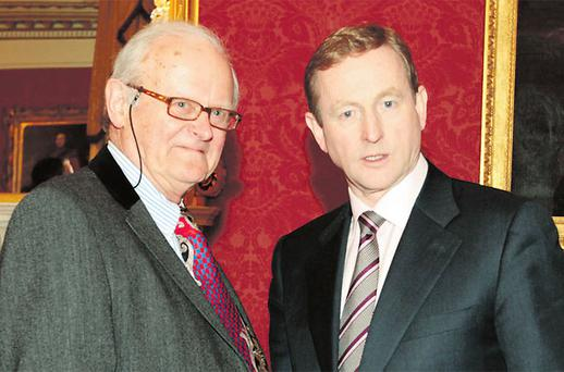 'Irish Independent' columnist Bruce Arnold with Taoiseach Enda Kenny at a dinner in Dublin Castle this week hosted by the National Newspapers of Ireland. Photo: ARTHUR CARRON/COLLINS
