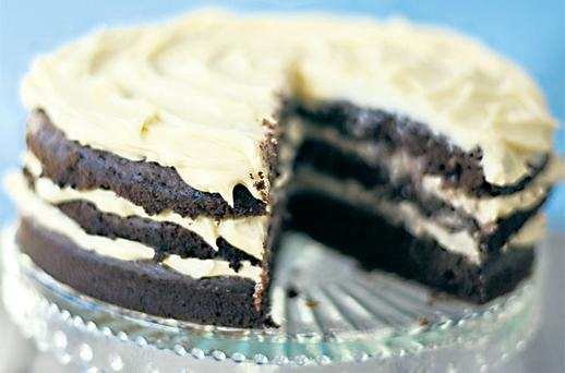 CHOCOLATE CAKE WITH WHITE-CHOCOLATE AND CREAM-CHEESE FROSTING