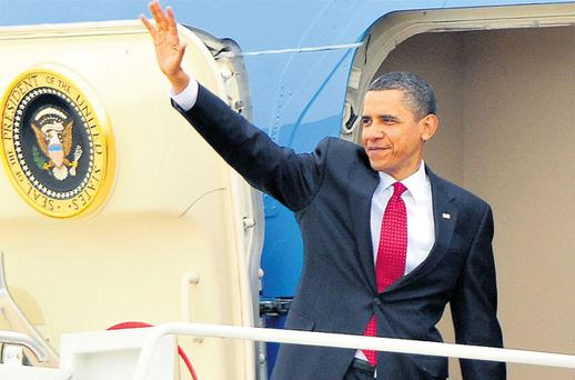On the road again: O'Bama will hope that his trip to the Emerald Isle will endear him to Irish-Americans back home