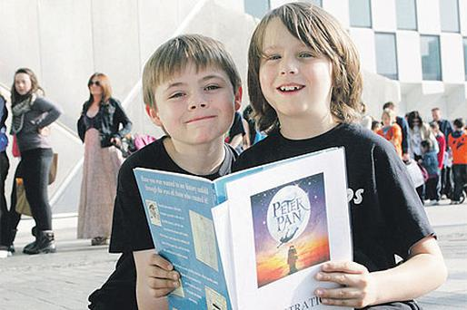 Thomas Delany (9), from Clondalkin, and Harry Behan (9), from Drimnagh, at the 'Peter Pan' auditions in the Grand Canal Theatre in Dublin