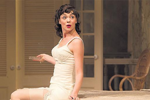 OUTRAGEOUS 'COME-ON': Fiona O'Shaughnessy in 'Cat on a Hot Tin Roof' at the Gate in Dublin