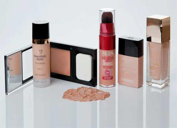 Pictured, from left: Revlon PhotoReady Compact Makeup SPF20; No7 Beautifully Matte Foundation SPF15; L'Oreal Infallible Brush; Chanel Vitalumiere Aqua SPF15; Clarins Skin Illusion SPF10