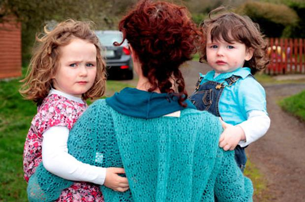 OOnagh with her children Eve and Theo. Photo: Mark Condren