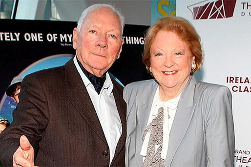 Gay Byrne and Kathleen Watkins at 'The Sound of Music', Grand Canal Theatre, Dublin, yesterday