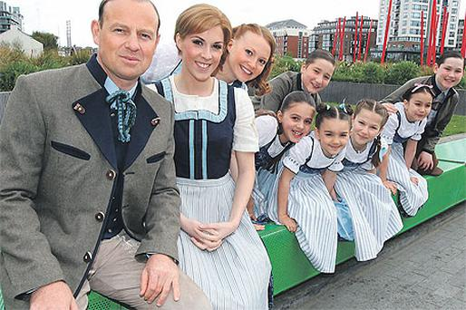Jason Donovan, Verity Rushworth and the von Trapp children at the Grand Canal Theatre, Dublin