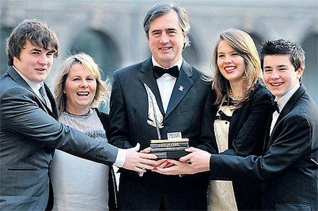 Sebastian Barry with his wife Alison, sons Merlin and Toby and daughter Coral at the 40th Annual Hennessy Literary Awards in the Royal Hospital, Kilmainham, Dublin, last night