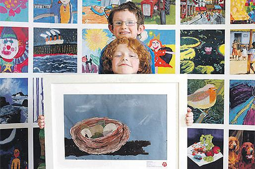 Fionnan Henry (8), second place in Category E (7-8 years) for 'Bird's Nest', pictured with brother Eanna (6)