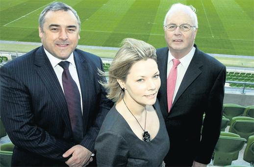 Pictured at the SCSI launch were from left John Curtin, president and Ciara Murphy, director general SCSI with Frank Daly, chairman of NAMA