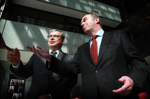 AIB's chief fFinancial officer Bernard Byrne and executive chairman David Hodgkinson pictured yesterday. Photo: PA