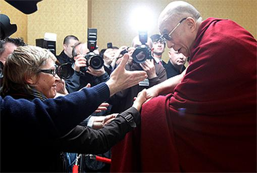 The Dalai Lama pictured at a press conference in Dublin today. Photo: Reuters