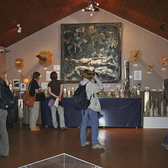 Visitors walk around the exhibits of phalluses from whales, seals, bears and other mammals at the Phallological Museum (AP)