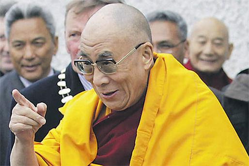 The Tibetan spiritual leader reacts to members of the public as he arrives at St Brigid's Church in Kildare town