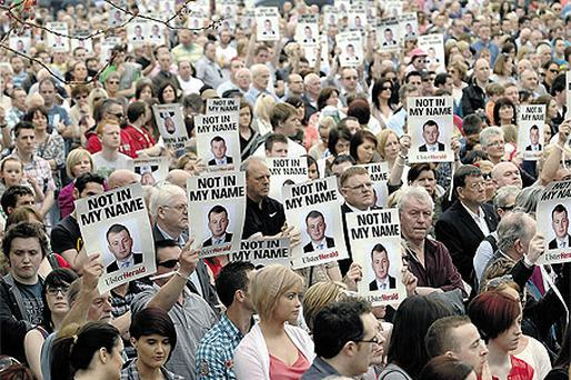 Thousands gathered in Omagh, Co Tyrone, on Sunday for a peace rally in the wake of PSNI officer Ronan Kerr's death in a car bomb