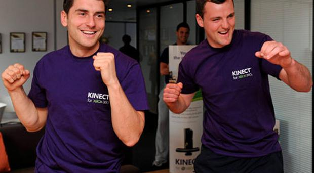 Dublin's Bernard Brogan and Donegal's Michael Murphy put their skills to the test by playing Kinect Sports for Xbox 360 in Dublin yesterday.