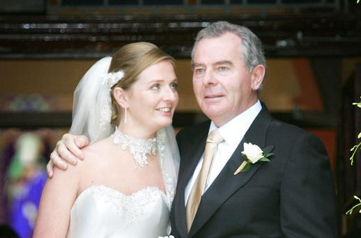 Sean Quinn Pictured with his daughter Ciara after her marrage to Niall McPartland. Photo: Frank McGrath