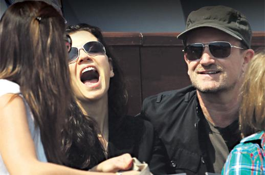 Bono and his wife Ali Hewson were soaking up the rays as they watched Rafael Nadal beat David Ferrer at the ATP Masters Series Tennis at the Monte Carlo Country Club yesterday