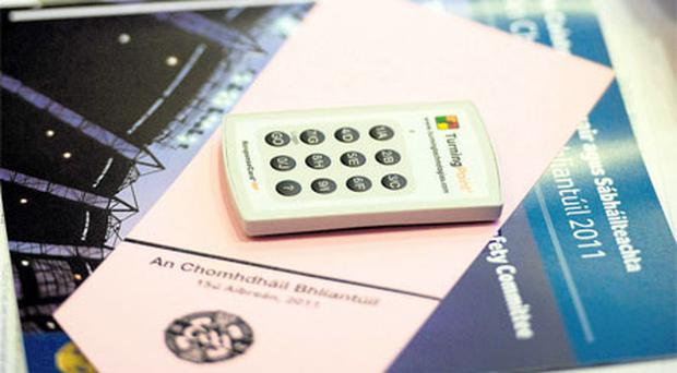 Electronic voting was in place for the first time at GAA Congress allowing the delegates to zap their way through the issues. The picture shows the GOinteractive TurningPoint ResponseCard which was used in Mullingar at the weekend. Photo: Ray McManus / Sportsfile
