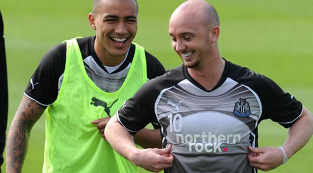 Newcastle's Stephen Ireland and Danny Simpson (left) during the training session at Longbenton Training Ground. Photo: PA