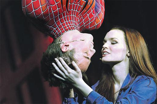 Reeve Carney and Jennifer Damiano in the final show of the original Spider-Man musical on Sunday