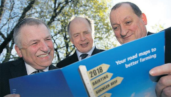 Professor Gerry Boyle, Teagasc director; Dr Tom Kelly, Teagasc's director of knowledge transfer; and Dr Noel Culleton, Teagasc's head of crops, environment and land use, read Teagasc's official publication on the Sectoral Road Maps 2018 for the agricultural and food sector