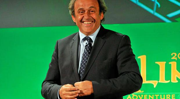UEFA president Michel Platini in Dublin yesterday before handing over the UEFA Europa League Trophy. Photo: David Maher / Sportsfile