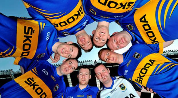 At the announcement of Skoda as the new sponsor for Tipperary GAA yesterday were hurlers, clockwise from bottom right, Brendan Cummins, Padraic Maher, Eoin Kelly, and Conor O'Mahony and footballers, clockwise top left, Hugh Coghlan, Brian Mulvihill, Paul Fitzgerald, and George Hannigan. Photo: Brian Lawless / Sportsfile