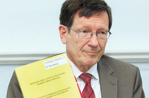 Peter Nyberg, author of the report into the banking sector, at a news conference at the Department of Finance yesterday