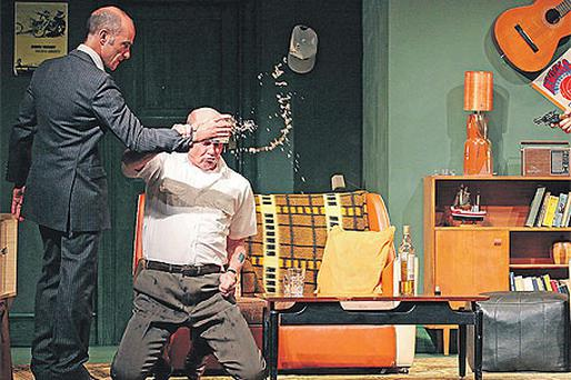 Finbar Lynch, David Rintoal and David Ricardo Pearce during a dress rehearsal of 'The Big Fellah' at the Gaiety