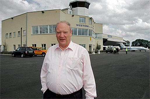 Jim Mansfield outside Weston Aerodrome