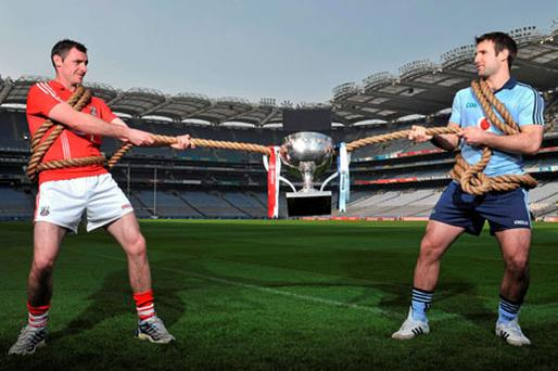 Cork's Donncha O'Connor (left) and Dublin's Bryan Cullen, pictured at Croke Park yesterday, will contest Sunday's Allianz NFL Division 1 Final. Photo: David Maher / Sportsfile