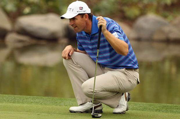 Padraig Harrington lines up a putt during the Pro-Am of the Volvo China Open at Luxehills Country Club in Chengdu yesterday. Photo: Ian Walton / Getty Images