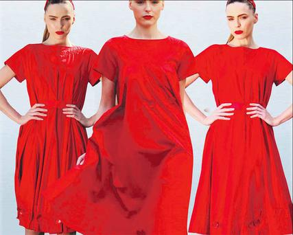 Sarah Morrissey shows off three versions of Mary Lennon's winning dress. PHOTOCALL