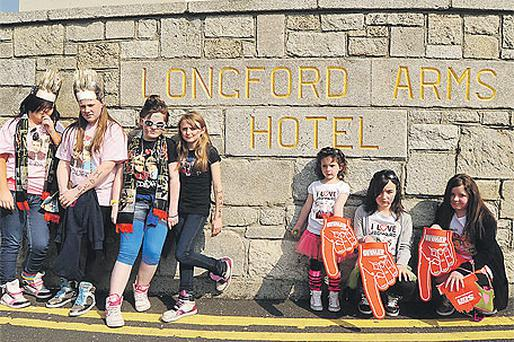 Disappointed Jedward fans outside the Longford Arms Hotel yesterday after the gig by the duo was cancelled