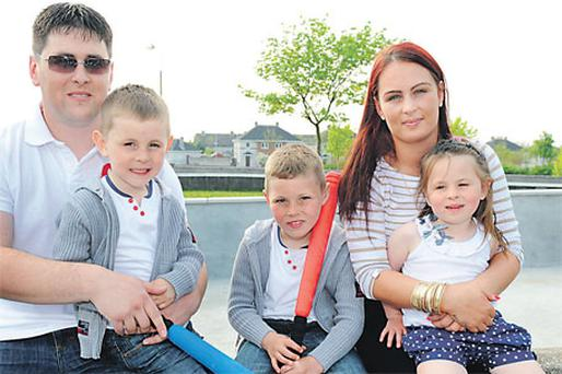 Bradley Sweeney (4) with his father John Paul, brother Sean, mother Maria and sister Megan yesterday